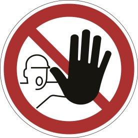 Advarselsklistermærke, adgang forbudt, rød