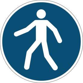Advarselsklistermærke, tilladt for gående, blå