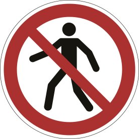 Advarselsklistermærke, forbudt for gående, rød