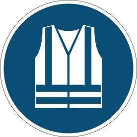 Advarselsklistermærke, anvend sikkerhedsvest, blå