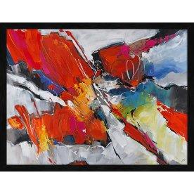 Maleri Abstract Life, 90x120 cm, inkl. sort ramme