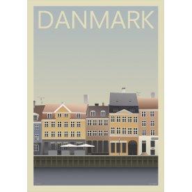 Danmark Nyhavn, 50x70 cm, inkl. sort ramme