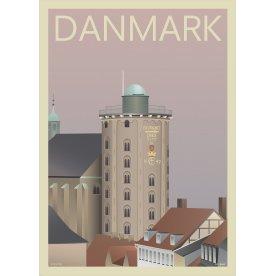 Danmark Rundetårn, 50x70 cm, inkl. sort ramme