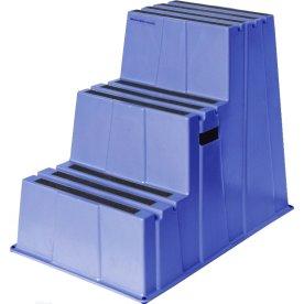 Sikkerhedstrappe, 3 trin, blå