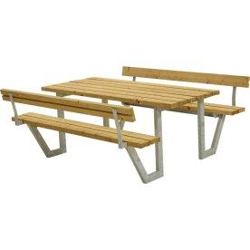 Plus Wega Bord/Bænkesæt m/ryglæn, lærk, 177 cm