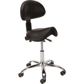 Sadelstol med ryglæn, Sort PU, 58-77 cm