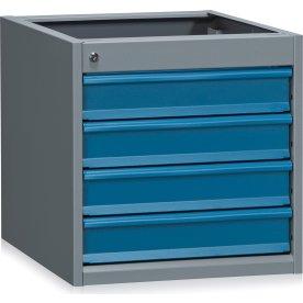 Skuffemodul 4x100 mm til arbejdsbord, Grå/blå