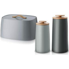 Emma brødkasse & 2 stk. opbevaringskrukker, grå