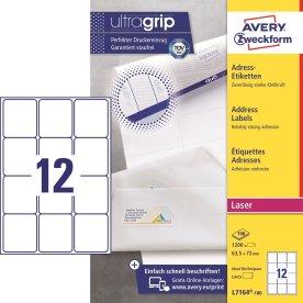 Avery L7164-100 Q.P. adr.etiketter, 63,5 x 72mm