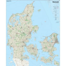 Lamineret Danmarkskort 96x116 cm
