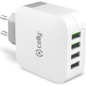 Celly strømforsyningsadapter med 4 USB porte, hvid