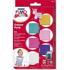 Fimo Kids Ler Colour Pack, 6x42 g, supp. farver
