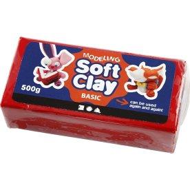 Soft Clay Modellervoks, 500 g, rød