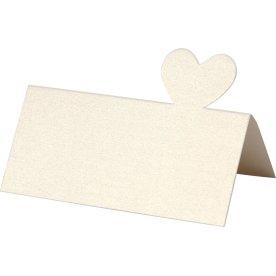 Happy Moments Bordkort m. hjerte, 20 stk, råhvid