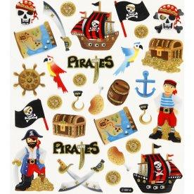 Stickers m. glitterdetaljer, pirater, 1 ark