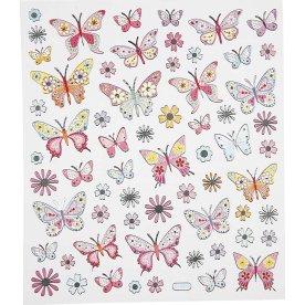Stickers m. metaldetaljer, sommerfugle, 1 ark