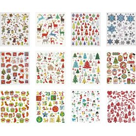 Stickershæfte, ass. julemotiver, 12 ark