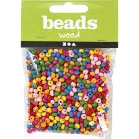 Beads Træperler, 4 mm, 1500 stk