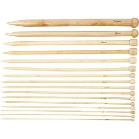 Strikkepinde, nr. 2,5-20, L: 35 cm, bambus, 16 par