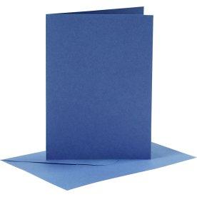 Brevkort og kuverter, 6 sæt, blå