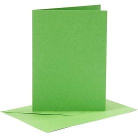 Brevkort og kuverter, 6 sæt, grøn