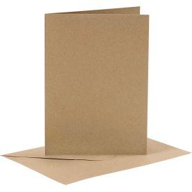Brevkort og kuverter, 6 sæt, natur