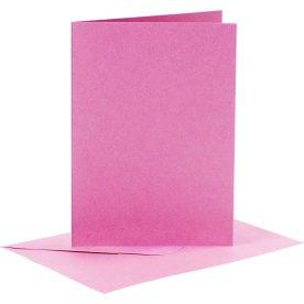 Brevkort og kuverter, 6 sæt, pink