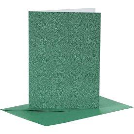 Glitterkort og kuverter, 4 sæt, grøn