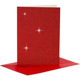 Glitterkort og kuverter, 4 sæt, rød