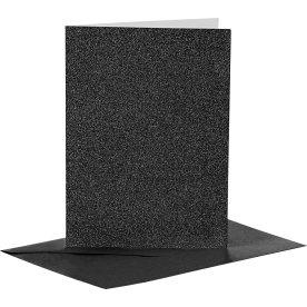 Glitterkort og kuverter, 4 sæt, sort