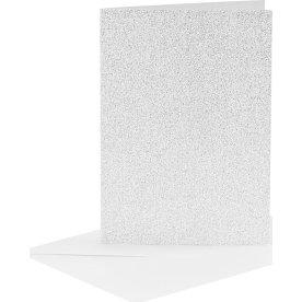 Glitterkort og kuverter, 4 sæt, sølv