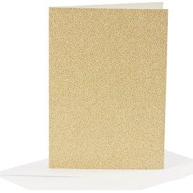 Glitterkort og kuverter, 4 sæt, guld