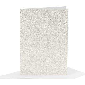 Glitterkort og kuverter, 4 sæt, hvid