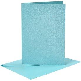 Perlemorskort og kuverter, 4 sæt, blå