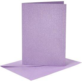 Perlemorskort og kuverter, 4 sæt, lilla