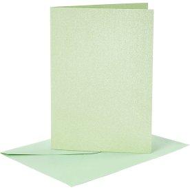 Perlemorskort og kuverter, 4 sæt, lysegrøn