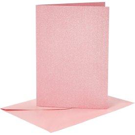 Perlemorskort og kuverter, 4 sæt, blå, lyserød