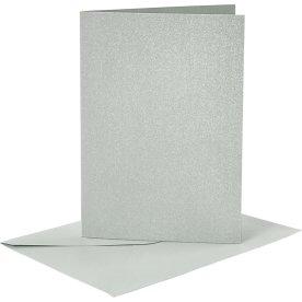 Perlemorskort og kuverter, 4 sæt, sølv