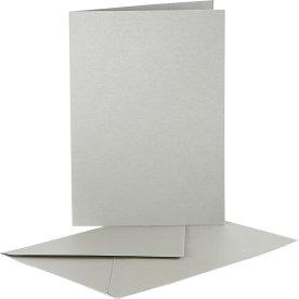 Perlemorskort og kuverter, 10 sæt, sølv