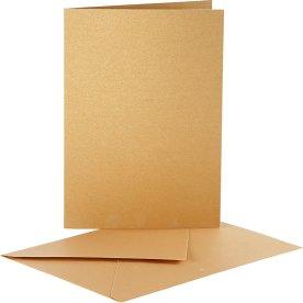 Perlemorskort og kuverter, 10 sæt, guld