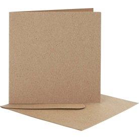 Brevkort og kuverter, kvadratisk, 10 sæt, natur