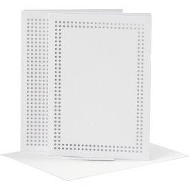 Broderikort og kuverter, 6 sæt, hvid
