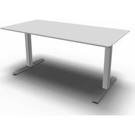 Square Kantinebord, L 120 cm, Lys grå/Alu