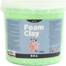 Foam Clay Modellervoks, 560 g, glitter, grøn