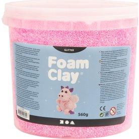 Foam Clay Modellervoks, 560 g, glitter, lyserød