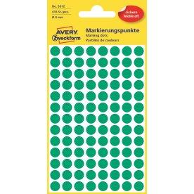 Avery 3012 manuelle etiketter, 8mm, grønne, 416stk