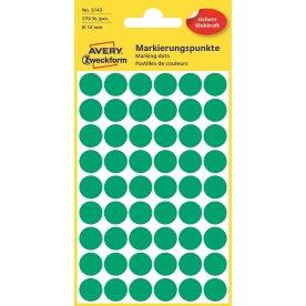Avery 3143 manuelle etiketter, 12mm, 270 stk, grøn