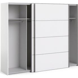 Garderobeskab m. skydedøre, Hvid, B 242,7 cm