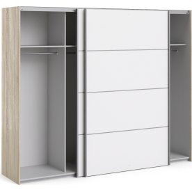 Garderobeskab m. skydedøre, Hvid/Eg, B 242,7 cm