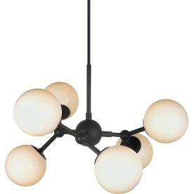 Atom Pendel med 6 arme, Sort/opal glas